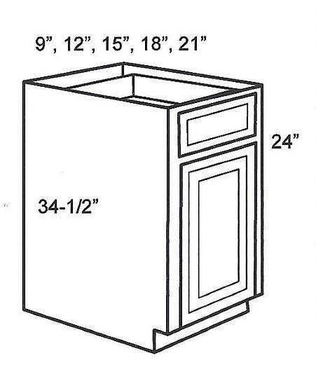 "B21 - Single Door Base Cabinets 21"" W"
