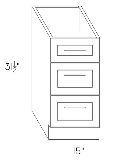 "VD15-3 Vanity Cabinet 15"" w/3 Drawers"