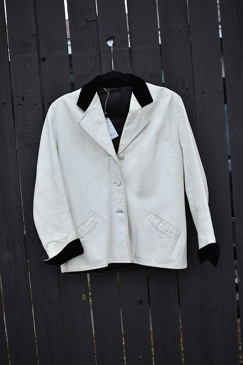 White Leather Jacket with Black Velvet Collar & Cuffs | Size M