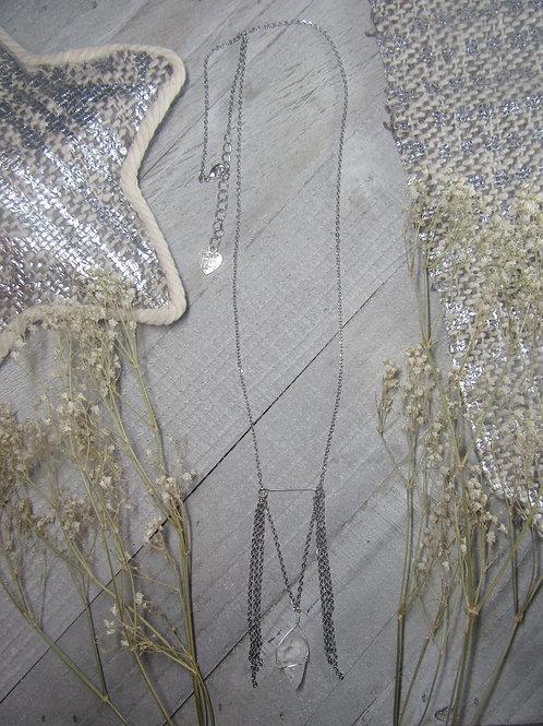 Long Clear Quartz Dangle Necklace