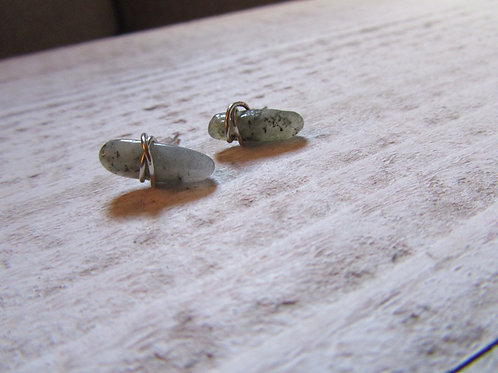 Labradorite stainless Steel Crystal Medium Size Stud