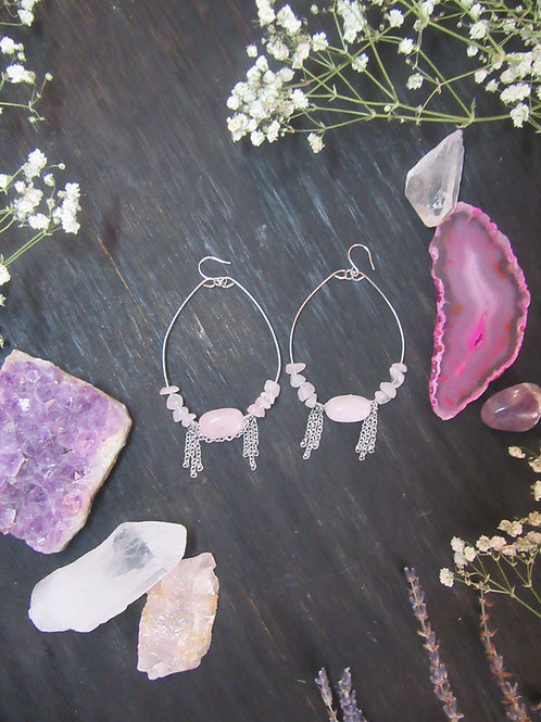 Rose Quartz Stainless Steel Chain Hoops