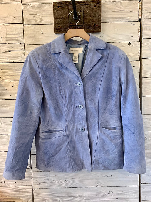 Distressed Baby Blue Suede Jacket | Size M