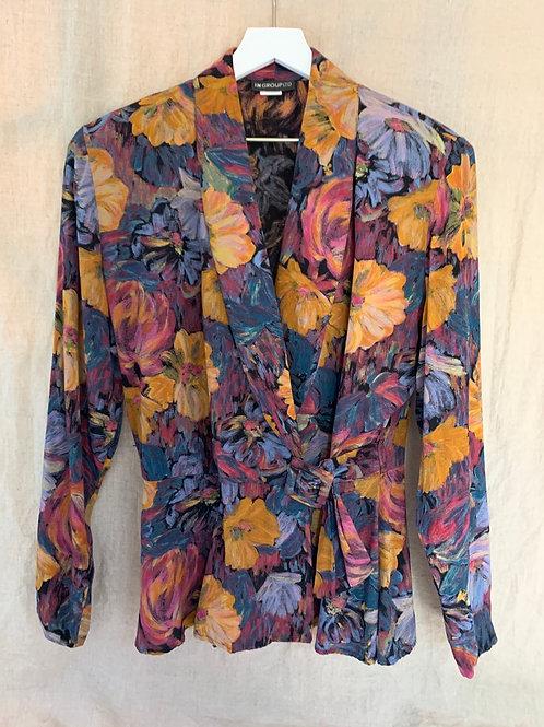 Vintage Floral Blouse/Blazer | Size M