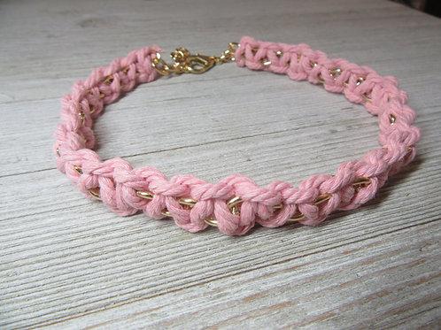 Pink Macrame Cord Choker