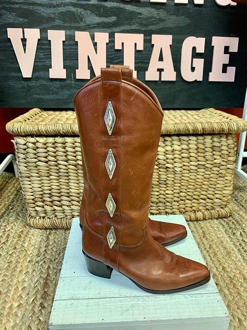 Cognac Leather Concho Boots