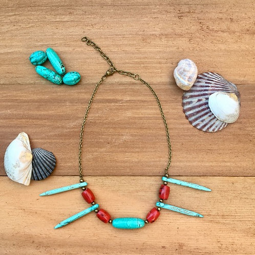 Tribal Turquoise and Red Coral Necklace