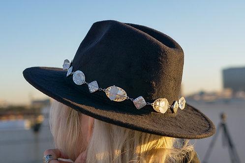 Clear Quartz Metal Hat Band & Black Hat
