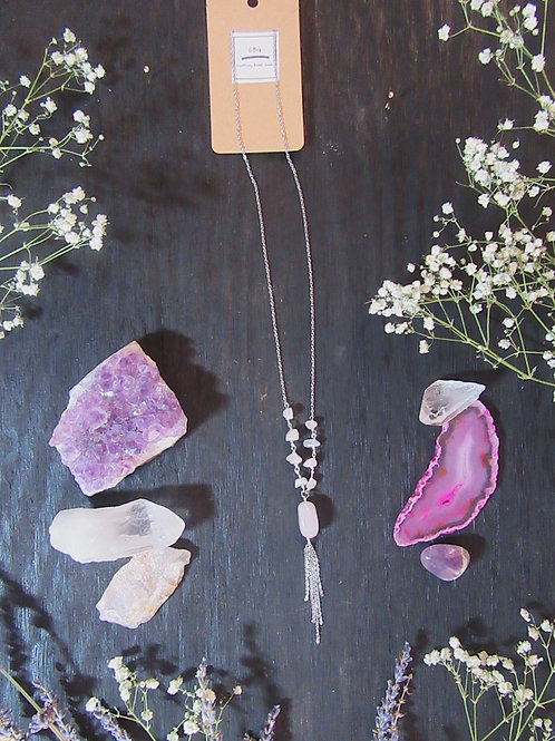 Rose Quartz Dangle Long Necklace