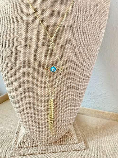 Blue Evil Eye Long Necklace