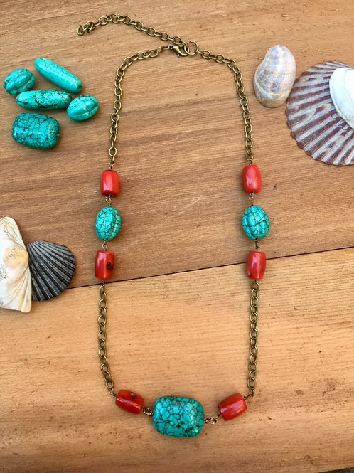 Turquoise and red coral Necklace with bronze colored chain