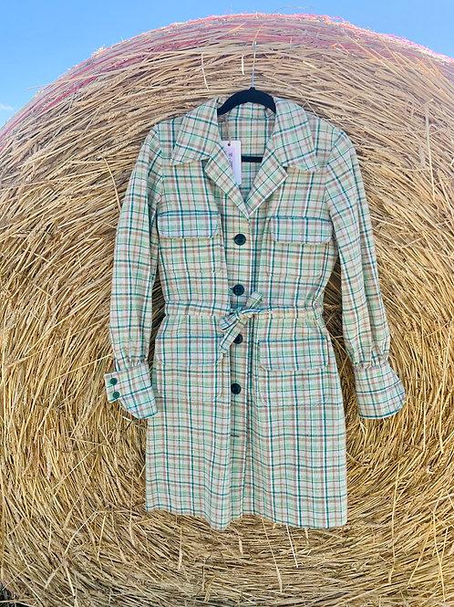Green Plaid Wool Dress | Size M - L