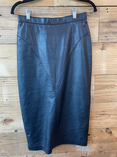 Black Vintage Leather Skirt | 9/10