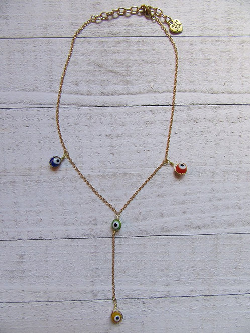 Colorful Evil Eye Gold Chain Necklace