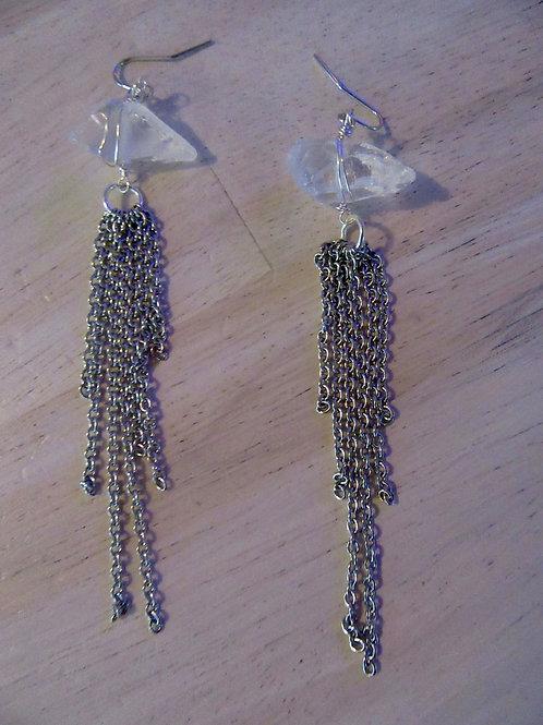 Clear Quartz Silver Chain Earrings