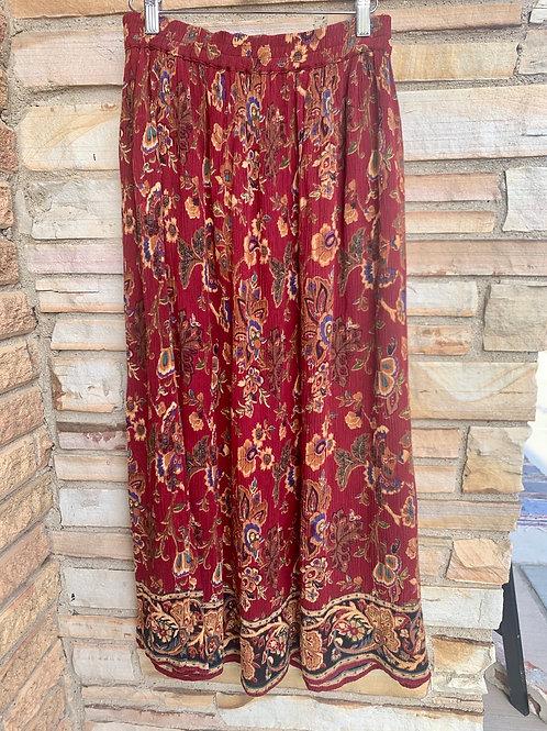 Burgundy Floral Maxi Skirt | Size XL