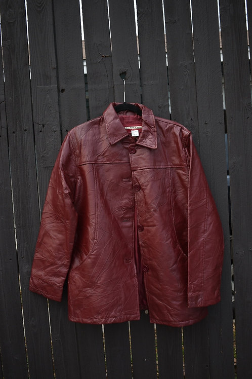 Burgundy Trench Leather Jacket | M