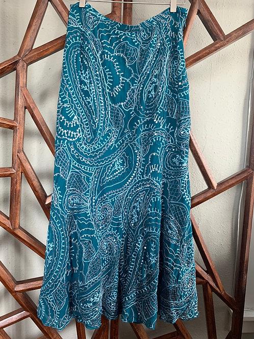 Embellished Teal Skirt | Fits M