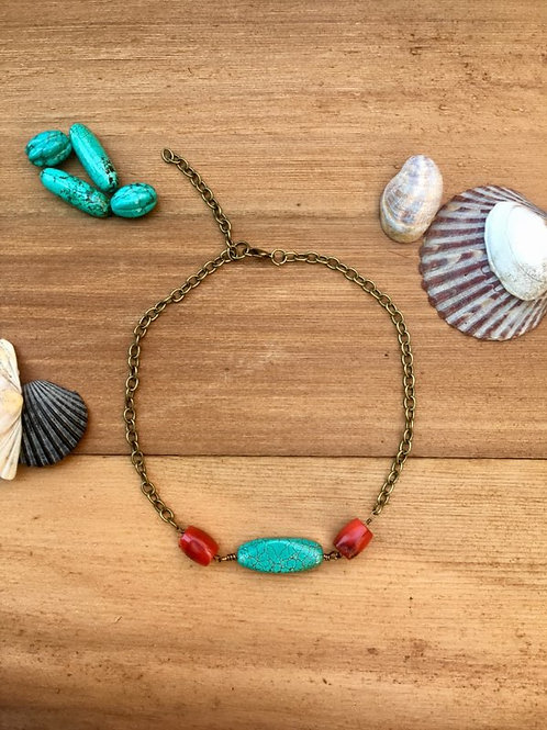 Turquoise and red coral choker with bronze colored chain