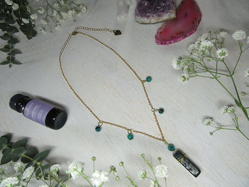 Lava and Reconstructed Turqoise Bead Gold Chain Color NEcklace