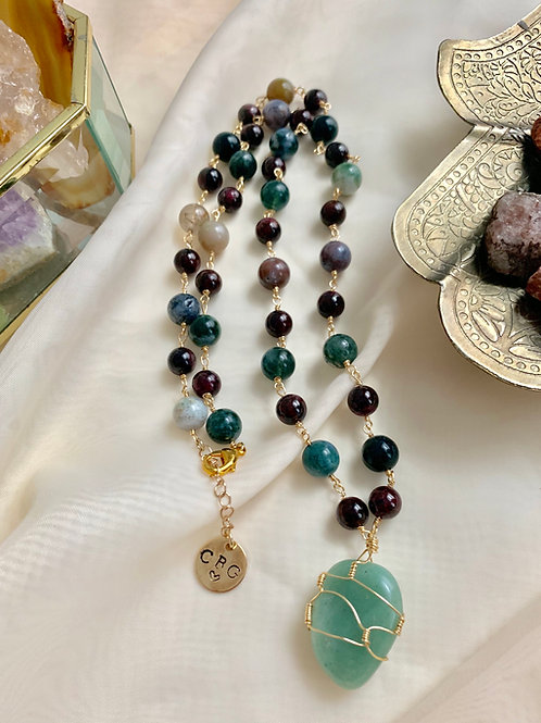 Aventurine & Fancy Jasper Wire Wrapped Necklace