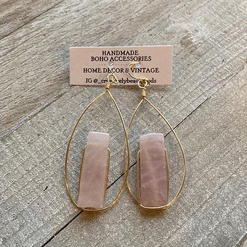 Rose Quartz Gold Hoop Earrings