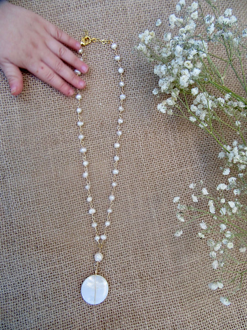 Natural Shell Circle Drop Necklace