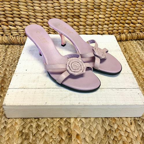 Lilac Flower Kitten Heels   Size 8