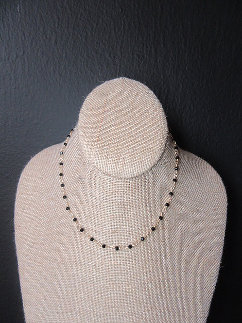 Wire Wrapped Black Glass Bead Necklace/Choker