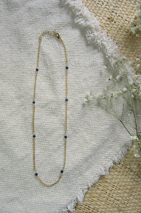 Blue Glass Bead Chain Necklace/Choker