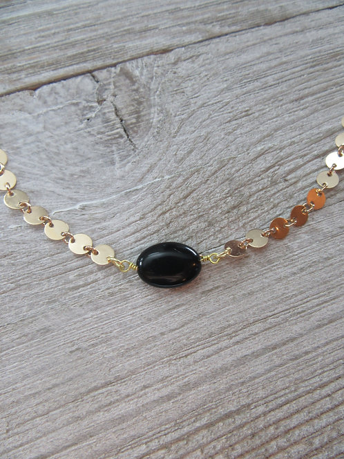 14kt Gold Plated Black Onyx Choker/Necklace