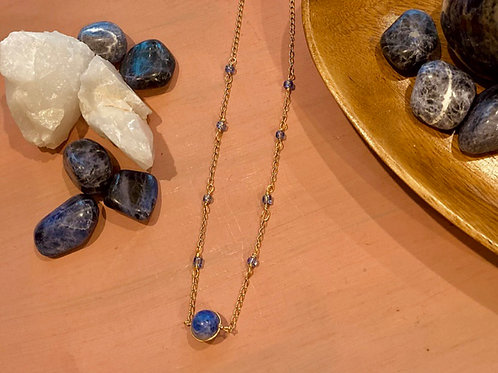 Sodalite Wire Wrapped Choker with Glass Beads