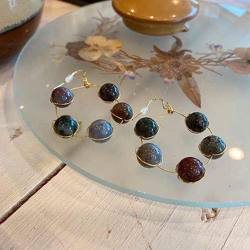 Fancy Jasper Hoops