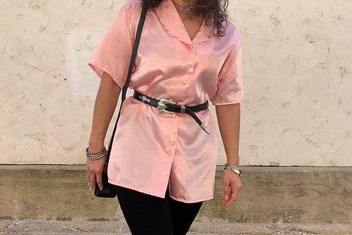 80s Vintage Pink Satin Top | Size L