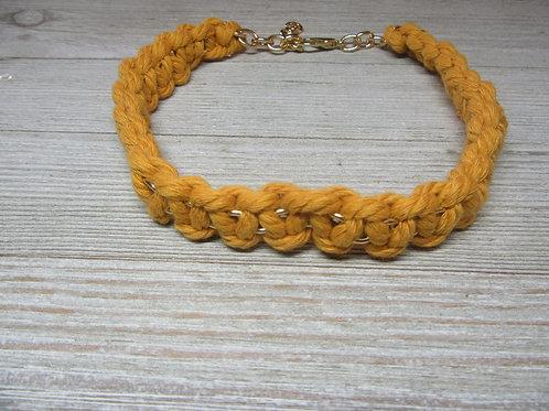 Mustard Yellow Macrame Cord Choker