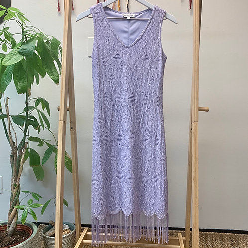 Vintage Lilac Fringe Dress | Size 6