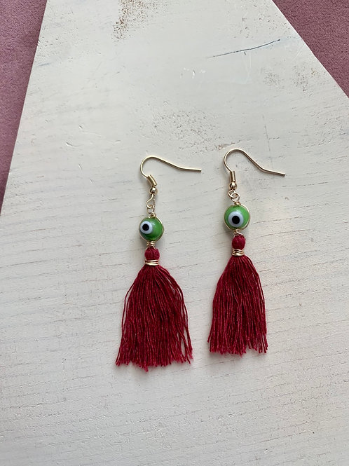 Neon Green and Burgundy Evil Eye Tassel Earrings