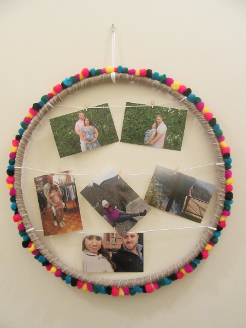 Colorful pom pom circle picture frame ( 20 inches)