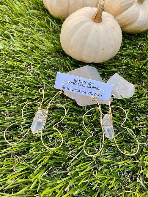 Clear Quartz Butterfly Earrings