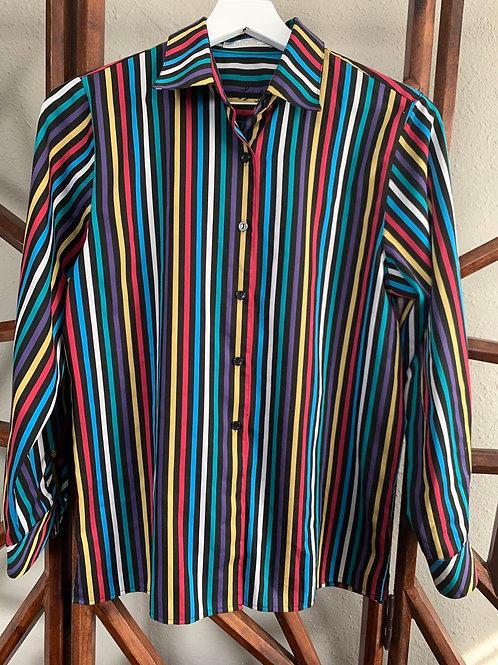 Electric Striped Button Bown | Size 6