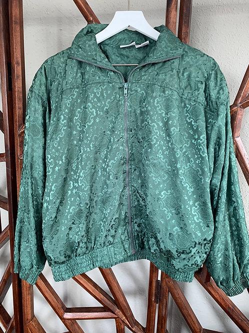 Green Satin Bomber Jacket | Size S
