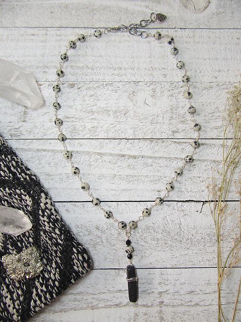 Wire Wrapped Dalmatian Jasper and Lava Charm Necklace