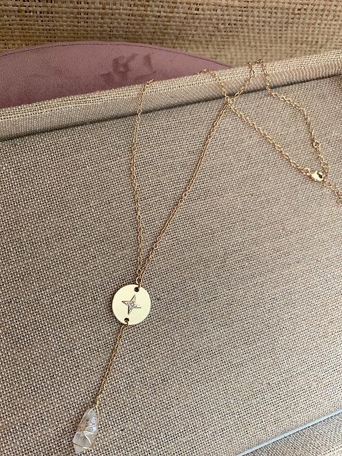 Star Pendant Clear Quartz Drop Necklace