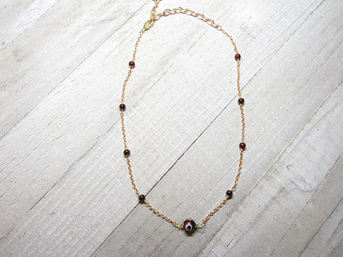 Burgundy Evil Eye Choker/Necklace