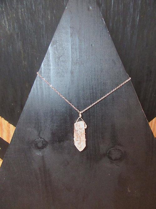 Wire Wrapped Rose Quartz Necklace