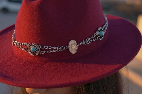 Turquoise Metal Hatband & Burgubdy Hat