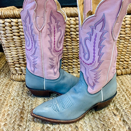 Pink & Periwinkle Justin Boots   Size 9