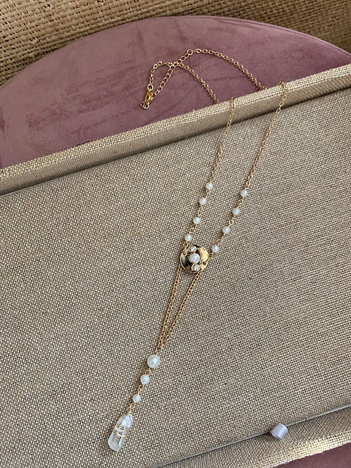 Wire Wrapped Faux Pearl Clear Quartz Necklace