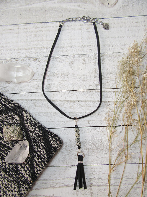 Dalmatian Jasper and Faux Suede Tassel Necklace/Choker
