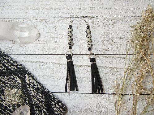 Dalmatian Jasper and Faux Suede Earrings